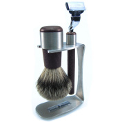 Pieces Stainless Steel with Wenge & Badger Brush Tipped Hair/Razor Shaving Set with Mach3 Blade