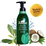 #1 Best Anti-bacterial Body Wash with Tea Tree Oil, Argan Oil and Coconut Oil 3-in-1 Formula By Keeva. 100% Natural Ingredients Are Perfect for Moisturising Dry, Sensitive Skin, & Fighting Body Acne.