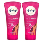 Pack of 2 Veet Fast Acting Gel Cream Hair Remover, Essential Oils and Velvet Rose 6.78 oz