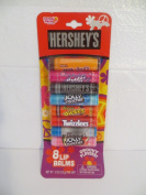 Hershey's 8 Flavoured Lip Balms Chapstick - Milk Duds, Bubble Yum, Hersheys Milk Chocolate, Blue Raspberry Jolly Rancher, Reeses Pieces, Twizzlers, Hershey Kisses, Watermelon Jolly Rancher Flavours