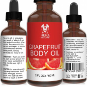 Grapefruit Body Oil - Grapefruit Essential Oil, 100% Pure, Therapeutic Grade, Sesame Oil, Sweet Almond Oil, Juniper Berry, Black Pepper & Rose Geranium Essential Oil - 60ml
