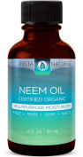 InstaNatural Organic Neem Oil - For Hair, Face, Skin & Body - Best 100% Pure & Certified Organic Cold Pressed Oil - For Acne, Nails, Dry Scalp, Split Ends, Stretch Marks & More - 120ml