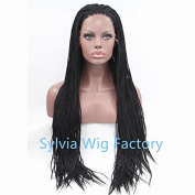 50cm synthetic lace front wig for women with heat resistant fibre black micro box braid long hair