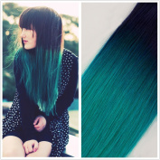 Moresoo 50cm 20pcs/50g Dip Dyed Two-tone Coloured Hair Natural Black(#1B) to Teal Green 100% Remy Human Hair Adhesive Tape In Hair Extensions