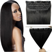 60cm 55g #1B Natural Black One Piece Thick Real Remy Human Hair Extensions 100% Natural Hair Long Straight Clip in Hair Extensions Sexy Beauty Salon for Women festival & Birthday
