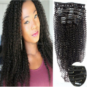 Gloryhair 100% Human Hair Afro Kinky Curly Clip in Hair Extensions Natural Black Most Popular Weaves Clip on Hair Extension Pieces #1b Colour 100g for Black Women