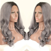 PlatinumHair ombre body wave black and grey synthetic lace front wavy wigs heavy density for black women 60cm