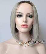 Heahair®Straight Bob Silver Ombre Cosplay Costume Synthetic Front Lace Wigs