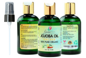 Jojoba Oil Golden Organic (120ml) by Flawless Faces - 100% Pure Cold Pressed & Unrefined - Best used for Sensitive Skin, Hair, Body, Face & Nails - Free Dispensing Pump Included!