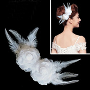 White Feather Fabric Flower Hair Clip Wedding Accessory Rhinestone Headpiece.Women pack of 1 piece