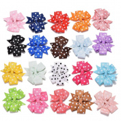 Great Deal 20 Pcs Ribbon Bowknot Hair Clips Baby Kids Hair Accessories