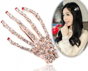 STEVE YIWU® Women Gothic Luxury Glitter Crystal Skeleton Hand Punk Halloween Zombie Party Hair Clip Pin