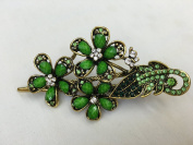 Gorgeous Fashion Jewellery Crystal Rhinestones Flower Design Hair Clips Hair Pins Hair Sticks - Large Size - Lime Green - For Hair Beauty Tools