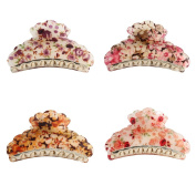 GSM Accessories 4 PCS Womens Floral Print Large Size Golden Acrylic Hair Claws HC013X4