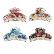 GSM Accessories 4 PCS Womens Floral Design Large Size Acrylic Hair Claws HC050X4