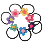 Ginasy Cute Girls Cloth Little Flower Hair Tie Bands Ropes Ponytail Holder