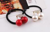 STEVE YIWU® 2Pcs Lady Crystal Rhinestone Pearl Hair Band Rope Elastic Ponytail Holder Hair Rope Accessories