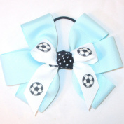 Soccer 6 Loop Hair Bow, Made in the USA, Black Pony Band