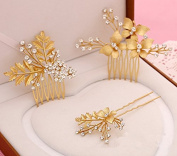 Meiysh Women's Gold Plated Hairpin Bridal Barrette Headpiece Hair Stick Ornaments Comb