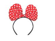 Red White Dot Bow Headband