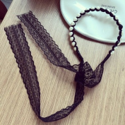 STEVE YIWU® Korean Long Hair Band Ribbon Lace Bow Tie With Faux Pearls Head Hoop