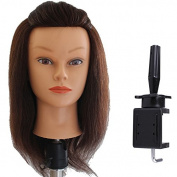 Manikin 36cm - 38cm Real Human Hair Hairdressing Training Mannequin Head with Free Clamp