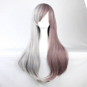 Aimer 70cm Heat Resistant Grey Colour Mixing Taro Colour Spiral Cosplay Wigs for Women Girls