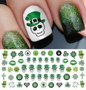 St. Patricks Day Skulls Set #3 Water Slide Nail Art Decals - Salon Quality!