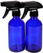 Vivaplex, 2 New, High Quality, Large, 240ml, Empty, Cobalt Blue Glass Spray Bottles with Black Trigger Sprayers