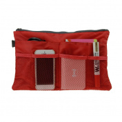 Holiberty Multi-funtional Nylon Zipper Travel Handbag Pouch / Bag in Bag / Insert Organiser / Cosmetic Toiletry Bag Pocket / Makeup Bag / Tidy Bag Dark Red