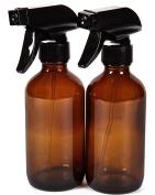 Vivaplex, 2 New, High Quality, Large, 240ml, Empty, Amber Glass Spray Bottles with Black Trigger Sprayers