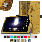 Sprint Slate 8 Tablet Case - Fintie [Slim Fit] Premium PU Leather Standing Folio Cover with Stylus Holder for Sprint Slate 20cm (AQT80) 4G LTE Tablet, Map Brown