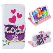 Fullkang Love Owl Family Leather Case Cover for for  for  for  for  for Samsung     Galaxy S5 I9600 G900