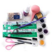 Fashion Zone False Individual Extension Black Eyelashes Glue Remover Tweezer Kit Set
