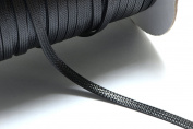 32ft (9.75m) (10.66 yards) 4mm Flat Waxed Cotton Cord in Black, Thin Ribbon. Great Cord Supplies for your Jewellery Projects #SD-S7477