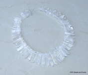 Polished Quartz. Full Strand - Polished Quartz Crystal Points - Natural Quartz Points - Graduated - 15mm - 40mm