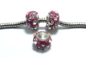 SALE 10pcs Crystal Polymer Clay Beads in Magenta, 11mm, European Style Large Hole Beads. Great Supplies for your Jewellery Projects SD-S7699