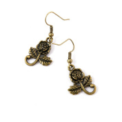 50 Pairs Earring Jewellery Making Charms Antique Bronze Findings Hooks Supplies Wholesale Supply Handmade P1JK1 Rose Flower