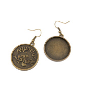 2 Pairs Earring Jewellery Making Charms Antique Bronze Findings Hooks Supplies Wholesale Supply Handmade Y7UT2 Aquarius Cabochon Blank Base