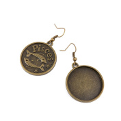2 Pairs Earring Jewellery Making Charms Antique Bronze Findings Hooks Supplies Wholesale Supply Handmade D1PX7 Pisces Cabochon Setting Base