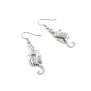 30 Pairs Jewellery Making Antique Silver Tone Earring Supplies Hooks Findings Charms T2MS2 Hippocampi Seahorse