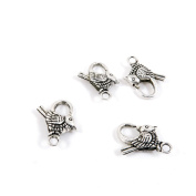 250 Pieces Antique Silver Tone Jewellery Making Charms F8SS5 Bird Lobster Clasps Pendant Ancient Findings Craft Supplies Bulk Lots