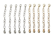 Necklace-Bracelet 5.1cm Extenders 10 Piece Silver & Gold Tone ~ 5 Pieces Each Colour