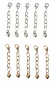 Necklace-Bracelet 2.5cm Extenders 10 Piece Silver & Gold Tone ~ 5 Pieces Each Colour
