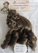 BYRON Craft DOLL HAIR WIG Style B-40 Fits SIZE 28cm Colour LIGHT BROWN (Looks MED. BROWN) Synthetic Fibre w Ringlet Bangs & Long Curls