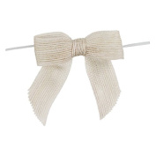 Pre-tied Bow 12 Pack of Bleached White Jute Bow with twist tie