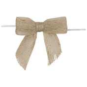 Pre-tied Bow 12 Pack of Natural Jute Bow with twist tie