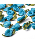 Ajetex 100pcs Satin Ribbon Rose Flower 12mm Wedding Appliques Lake Blue