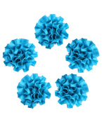 Ajetex 20pcs Sation Ribbon Carnations Flower 50mm Wedding Appliques Blue