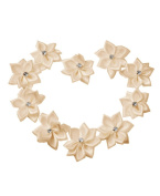 Ajetex 50pcs Satin Ribbon Rhinestones Flower 28x30mm Wedding Appliques Beige